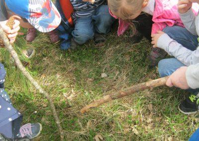 Kinder finden eine Schnecke